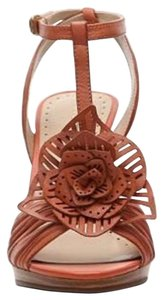 Adrienne Vittadini Leather Platform Heels Dressy Flower Light Brown Sandals