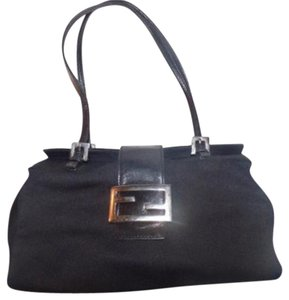 Fendi Mint Vintage Dressy Or Casual Bold Ff Buckle Hardware Timeless Style Satchel in black nylon/leather with chrome