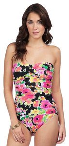 Ralph Lauren LAUREN by Ralph Lauren Brilliant Floral Twist Bandeau Mio One Piece Slimming Fit w/ Molded Cup Size 12