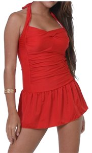 Other One Piece Red Open Back Swimdress Size L US 8-10 NWT