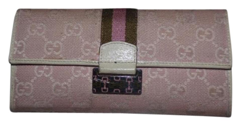 caaeb80303ec Gucci Pink Large G Logo Print Canvas/White Leather Vintage Wallet ...