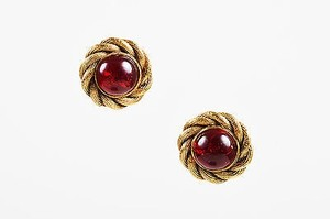 Charlotte Russe Vintage Chanel Gold Tone Red Stone Embellished Woven Clip On Cocktail Earrings