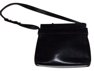 Salvatore Ferragamo 1960's Mod Style Mint Vintage Satchel in Black leather