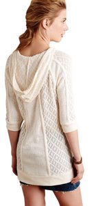 Anthropologie Meadow Rue Ivory Hooded Tunic Sweater