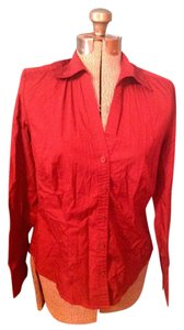 Ann Taylor LOFT Cotton Spandex Button Down Button Down Shirt Deep red