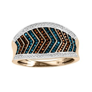 Elizabeth Jewelry 10Kt Rose Gold Cognac White & Blue Diamond Ring