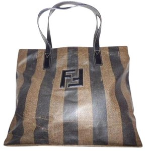 Fendi Puffy Ff Logo Accent Design 2 Strap Medium Signature Piece Tote in pequin wide stripe print vinyl and dark brown leather
