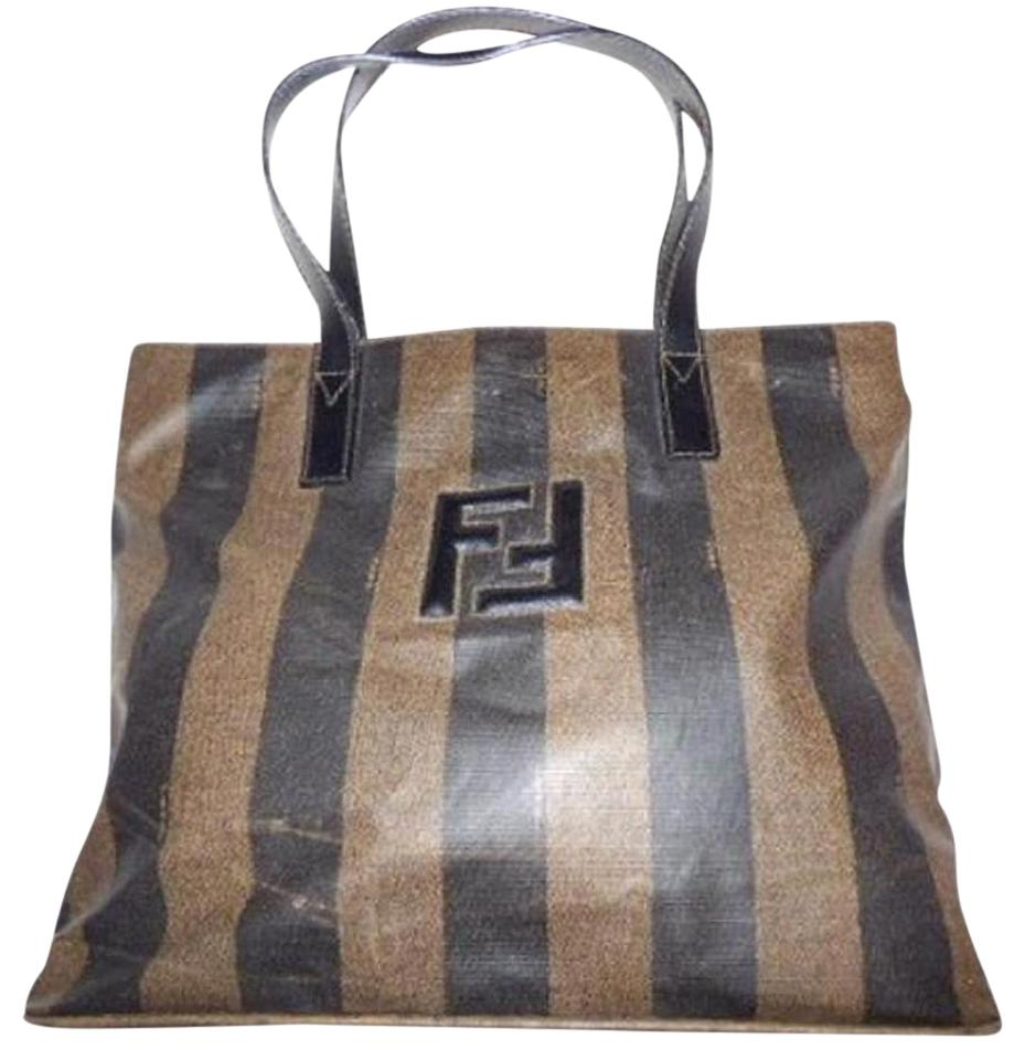 9800acb62de0 Fendi Puffy Ff Logo Accent Design 2 Strap Medium Signature Piece Tote in  pequin wide stripe ...