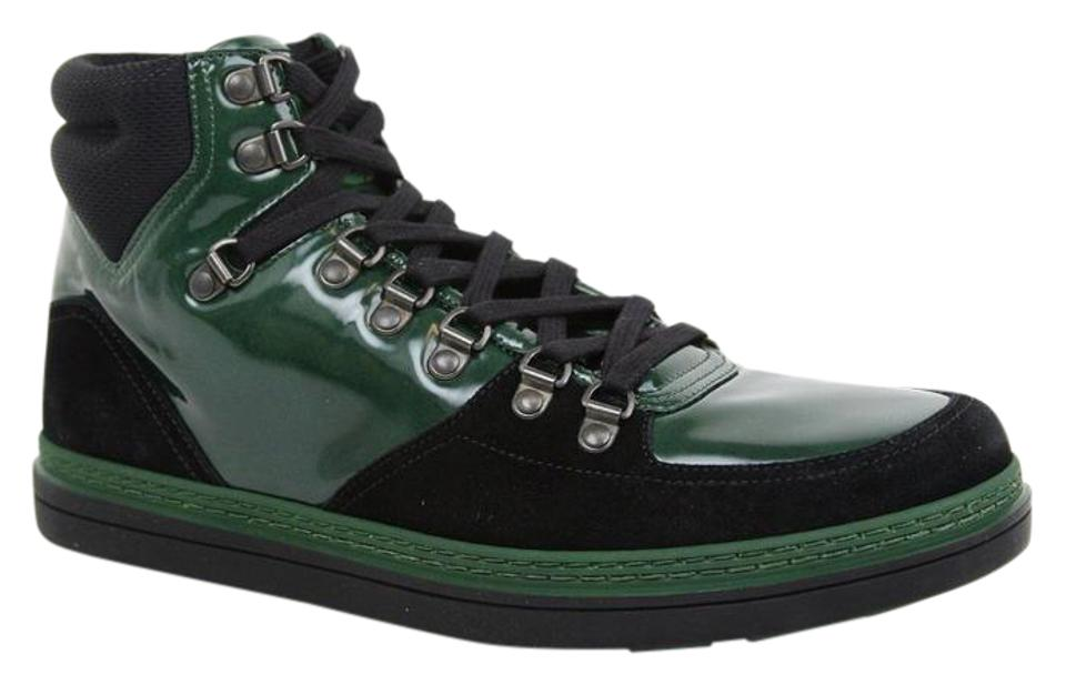 ba357d3fd4f6 Gucci Dark Green Men s Suede Contrast Combo High-top 368496 1077 Size 7 G    Us 7.5 Shoes