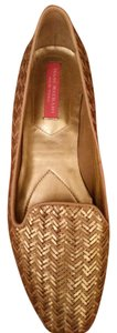 Isaac Mizrahi Slip On Ballet Light Tan and Gold Zig Zag Weave Flats