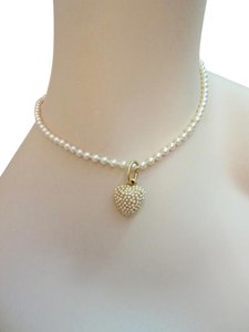 Agatha Paris and Unknown Agatha Paris Heart Gold Tone Pendant with Pearl Necklace with Sterling Clasp --Superb!