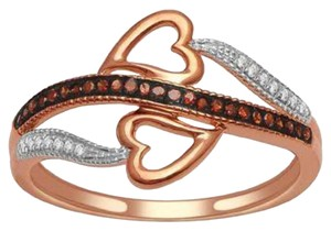 Elizabeth Jewelry 10Kt Rose Gold Cognac & White Diamond Double Heart Ring
