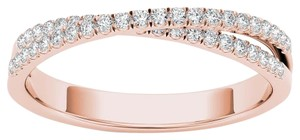 Elizabeth Jewelry 10Kt Rose Gold 0.25 Ct Diamond Swirl Design Ring