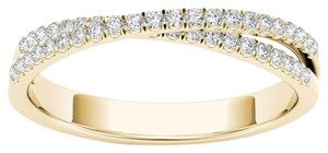 Elizabeth Jewelry 10Kt Yellow Gold 0.25 Ct Diamond Swirl Design Ring