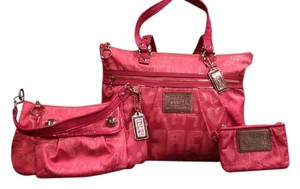 Coach Poppy Storypatch Large Tote in Pink