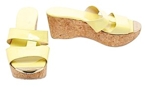 Jimmy Choo Patent Leather Platform Slide Chartreuse Yellow Sandals