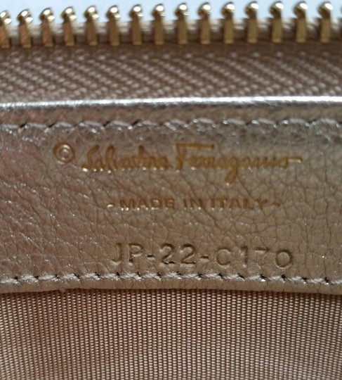 Salvatore Ferragamo *New with tags* Miss Vara Bow Zip Continental Wallet in Metallic Gold Image 4