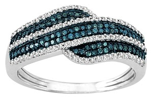 Elizabeth Jewelry 0.40 Carat Blue & White Diamond Ring 925 Sterling Silver