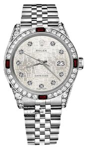 Rolex Women's Rolex 31mm Datejust Silver Jubilee Metal Plate Dial Ruby & Diamond Watch