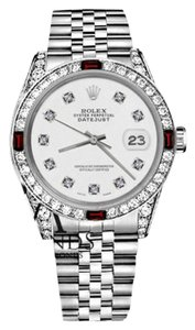 Rolex Rolex 36mm Datejust White Color Dial with Ruby & Diamond Bezel Accent Watch