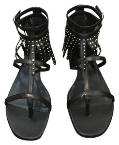 Saint Laurent Embellished Studded Fringed Ankle Strap Black Sandals