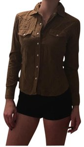 Charlotte Russe Button Down Shirt Brown