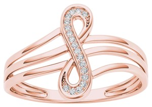 Elizabeth Jewelry 10Kt Rose Gold Diamond Infinity Knot Ring