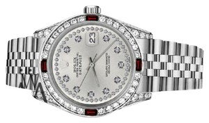 Rolex Ladies Rolex 26mm Datejust Silver Color String Dial Ruby & Diamond Accent Watch