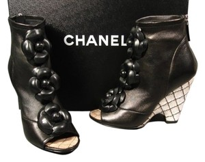 Chanel Camellia Leather Black Wedges