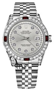 Rolex Women's Rolex 31mm Datejust Silver Color String Dial Ruby & Diamond