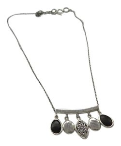 "Lois Hill Sterling Silver 5 Charm Necklace, 16.5"" - 17.5"" Chain"