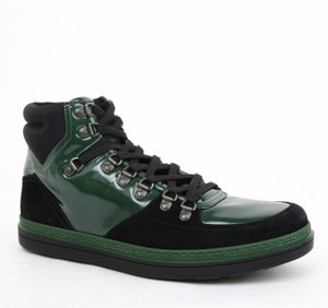 Gucci New Gucci Men's Leather Suede Contrast Combo High-top Sneaker Green 368496 1077 Size 10.5 G / Us 11