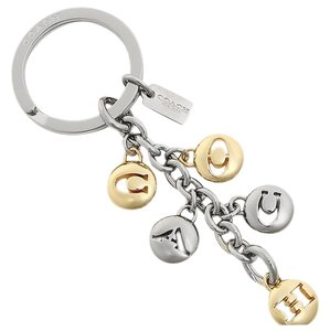 Coach Signature Gold & Silver Letter Key Chain with Dust Bag