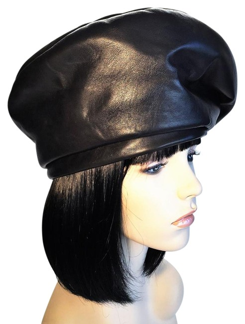 Item - Black Modified Beret In Leather & Suede [ Heavenlyhats ] Hat
