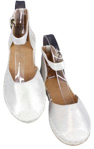 14th & Union 8m Metallic Leather Jute Accent Ankle Strap B358 Beige Gold Flats