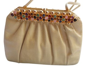 Judith Leiber Vintage Excellent Condition All Stones Intact Mirror & Comb Bone Clutch
