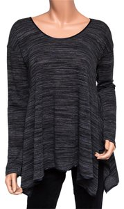 Quinn Charcoal Long Sleeve Jersey Soft Top Gray