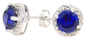 Other Blue Sapphire & Diamond Round Stud Earrings 14Kt White Gold & Sterling Silver