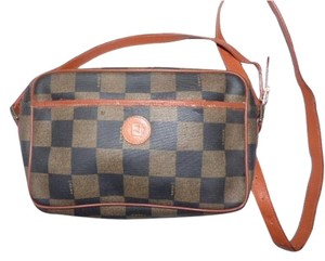 Fendi Exterior Pocket Gold Hardware Checkerboard Classic Style Cross Body Bag