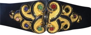Judith Leiber Judith Leiber Black leather belt with Gold ornaments and stones