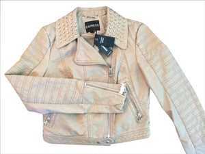 Express Faux Studded Fitted Bone Leather Jacket