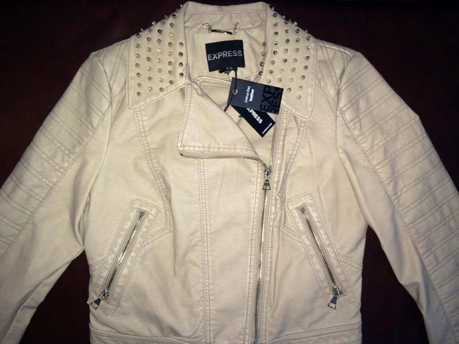 Express Faux Studded Fitted Bone Leather Jacket Image 3