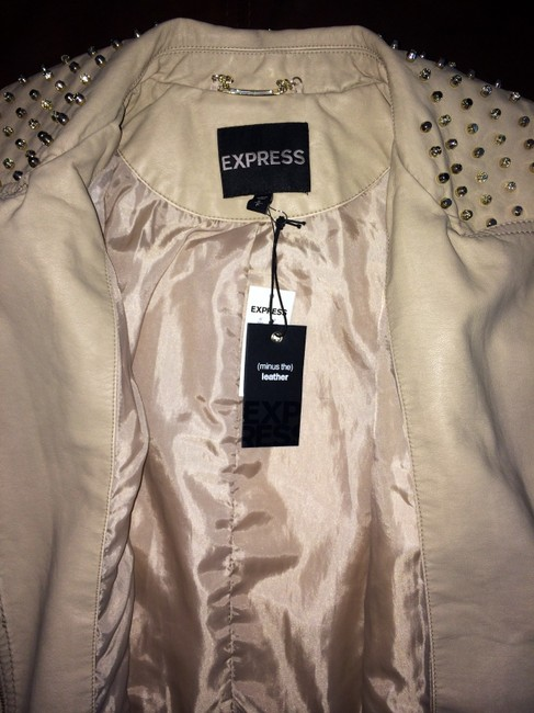 Express Faux Studded Fitted Bone Leather Jacket Image 4