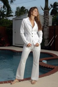 Lirome Boho Resort Summer Boot Cut Pants White
