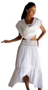 Lirome Crochet Embroidery Resort Skirt White