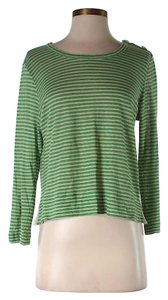 See by Chloé Linen Striped Cropped T Shirt Green