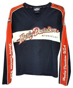 Harley Davidson Longsleeve Durable Embroidered T Shirt Black