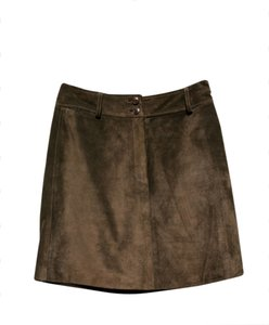 Ann Taylor Suede Leather Mini Skirt Brown