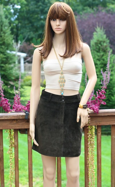 Ann Taylor Suede Leather Mini Mini Skirt Brown Image 1