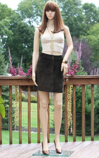 Ann Taylor Suede Leather Mini Mini Skirt Brown Image 2